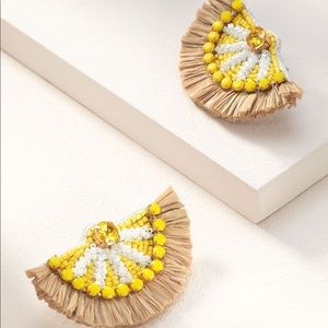 Stella and Dot Embroidered Lemon Earrings